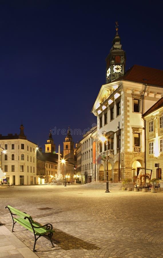 Stadshusfyrkant i Ljubljana Slovenija fotografering för bildbyråer