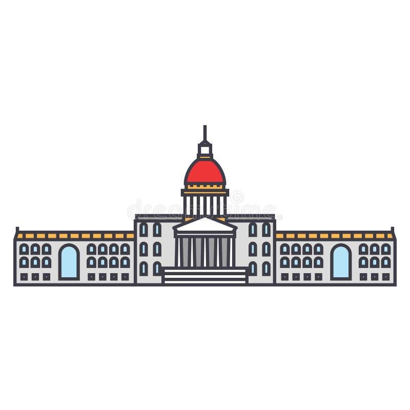 Stadshuslinje symbolsbegrepp Plant vektortecken för stadshus, symbol, illustration royaltyfri illustrationer