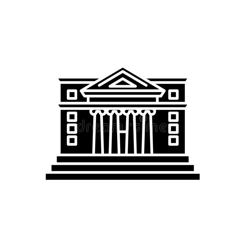 Stadshussvartsymbol, vektortecken på isolerad bakgrund Stadshusbegreppssymbol, illustration stock illustrationer