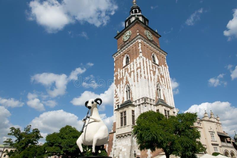 Stadshustorn - Krakow - Polen royaltyfria foton
