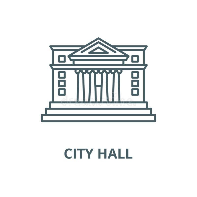 Stadshusvektorlinje symbol, linjärt begrepp, översiktstecken, symbol royaltyfri illustrationer
