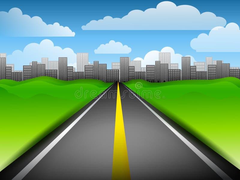 stadshuvudväg long till royaltyfri illustrationer