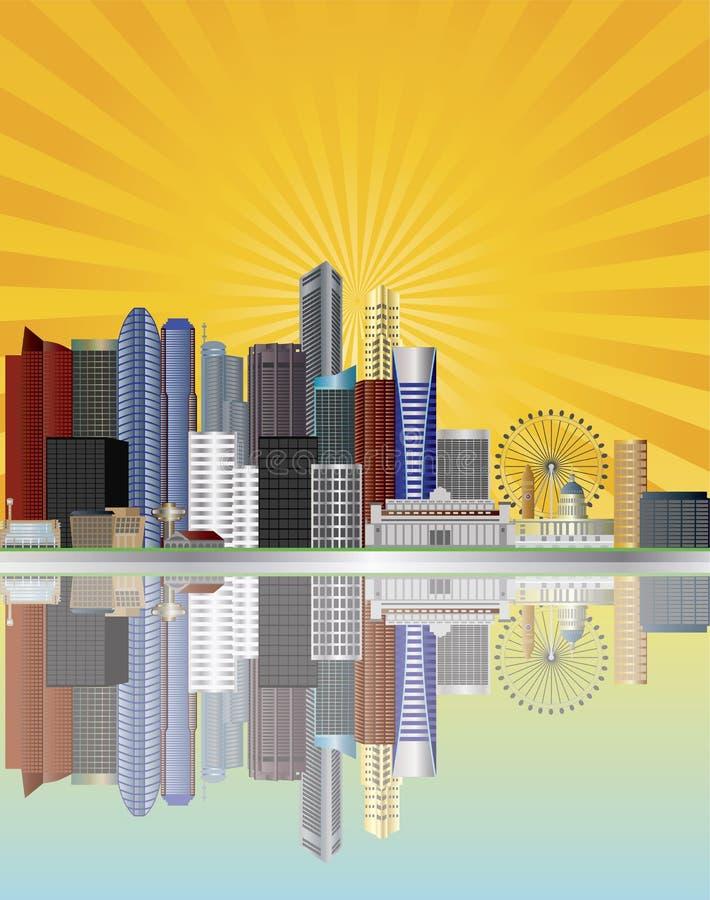 stadsillustrationen rays den singapore horisontsunen royaltyfri illustrationer