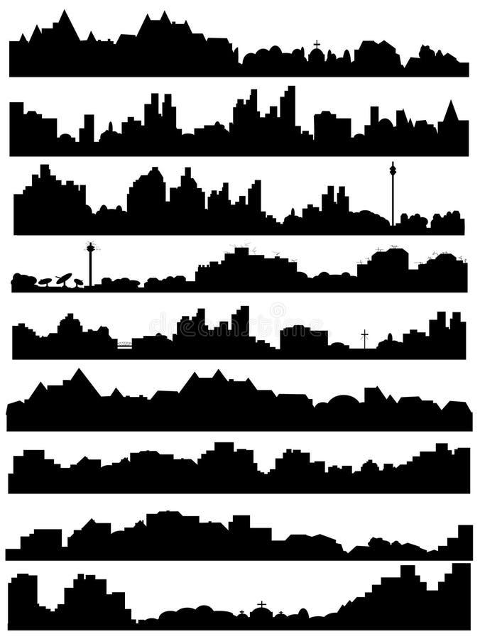 stadsillustrationhorisont vektor illustrationer