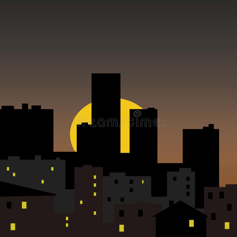 stadsillustrationsoluppgång