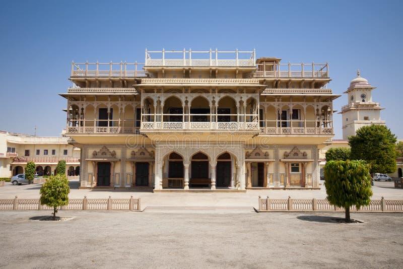 stadsindia jaipur mahal mubarak slott fotografering för bildbyråer