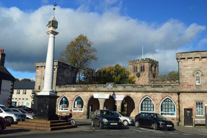 Stadskärna Appleby-i-Westmorland en traditionell cumbrian köping UK arkivbild