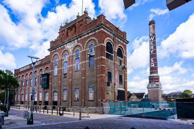 Stadskärnaregenerering av Eldridge Pope Brewery Site Dorchester Dorset arkivfoto