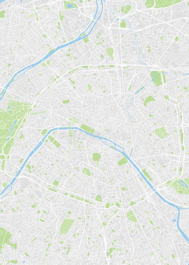 Stadskaart Parijs, kleur gedetailleerd plan, vectorillustratie stock illustratie