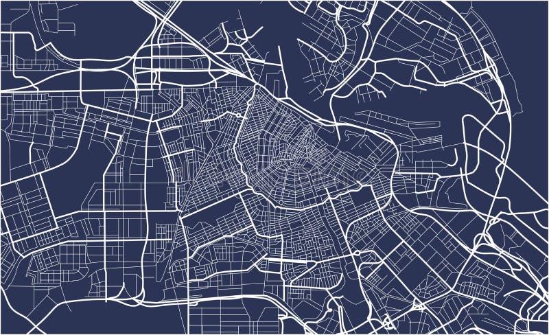 Stadskaart van Amsterdam, Nederland vector illustratie