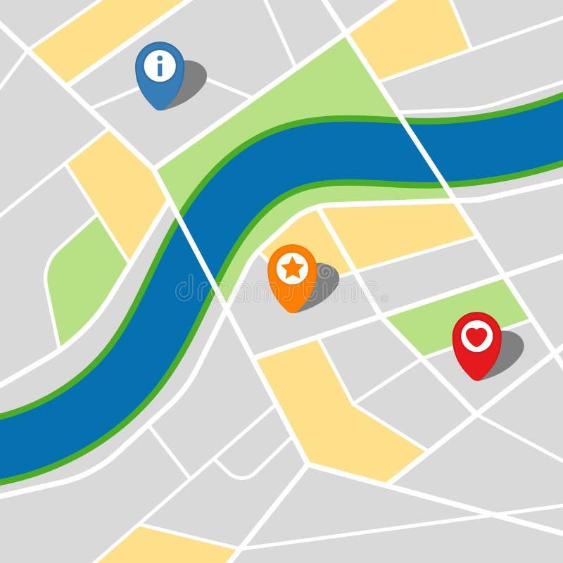 Stadskaart van een denkbeeldige stad met een rivier en drie spelden royalty-vrije illustratie