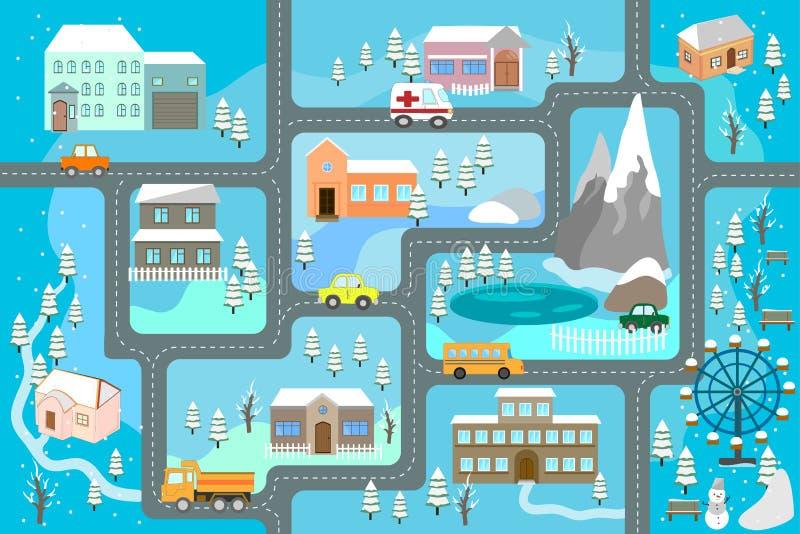 Stadskaart voor kinderen Sneeuwstadslandschap, autospoor - spelmat stock foto