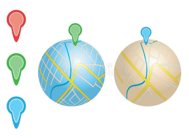 Stadskaarten met rivier en wijzers op bollen stock illustratie