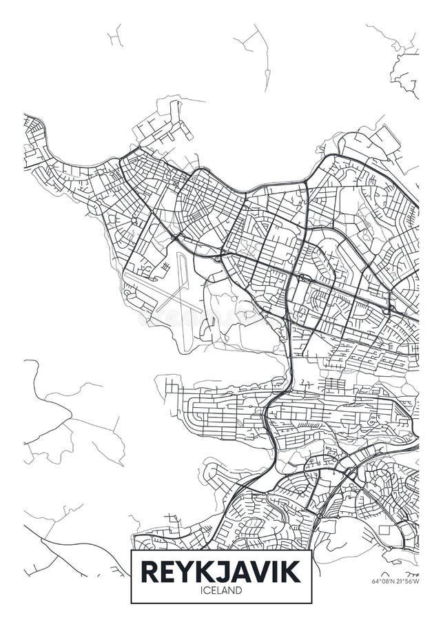 Stadskarta Reykjavik, vydesign för resevektorer royaltyfri illustrationer