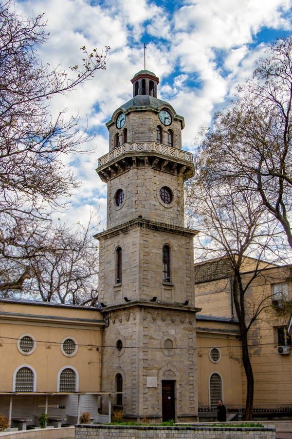 Stadsklocka Bulgarien varna fotografering för bildbyråer