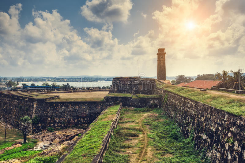 Stadsklokketoren in de stad van Galle in Sri Lanka royalty-vrije stock afbeeldingen