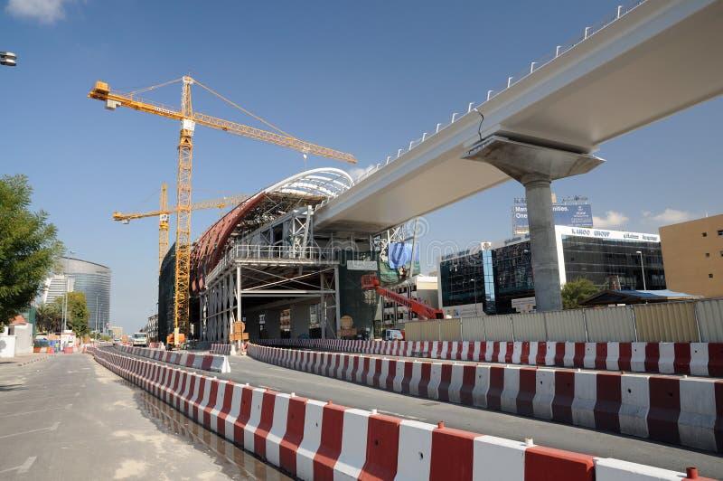 stadskonstruktionsdubai metro arkivfoto