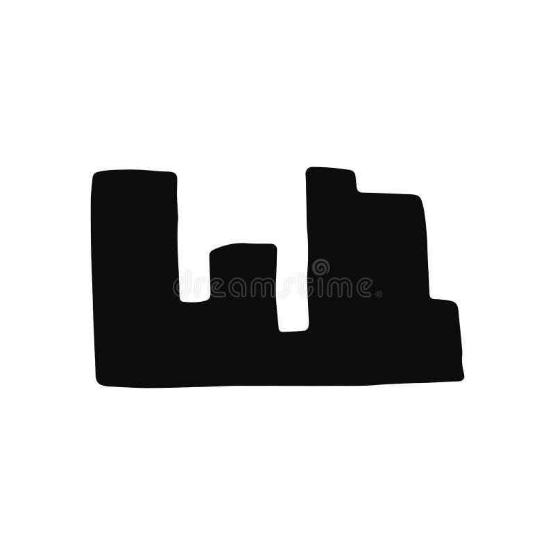 Stadskontursymbol Isolerat svart objekt stock illustrationer