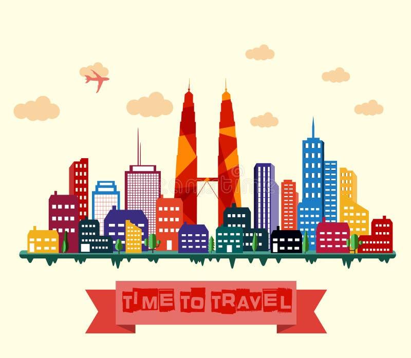 stadsKuala Lumpur horisont royaltyfri illustrationer