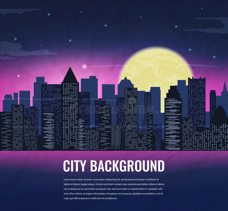 Stadslandschap bij nacht in maanlicht Het kan voor prestaties van het ontwerpwerk noodzakelijk zijn stock illustratie