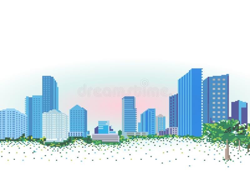 Stadslandschap in de stijl van pixelgrafiek royalty-vrije illustratie