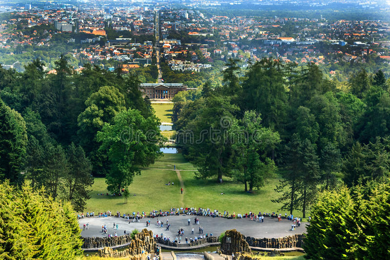 Stadslandschap Kassel, Duitsland royalty-vrije stock afbeelding