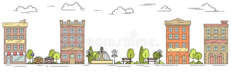 Stadslandschap met de auto die van het huizenpark Vlak lijnart. parkeren vector illustratie