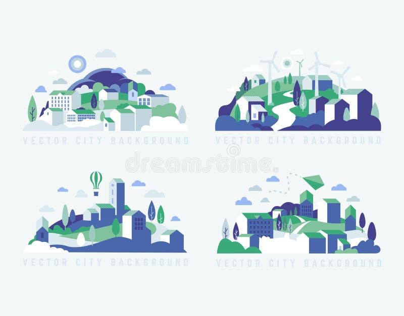 Stadslandschap met gebouwen, heuvels en bomen Vectorillustratie in minimale geometrische vlakke stijl vector illustratie