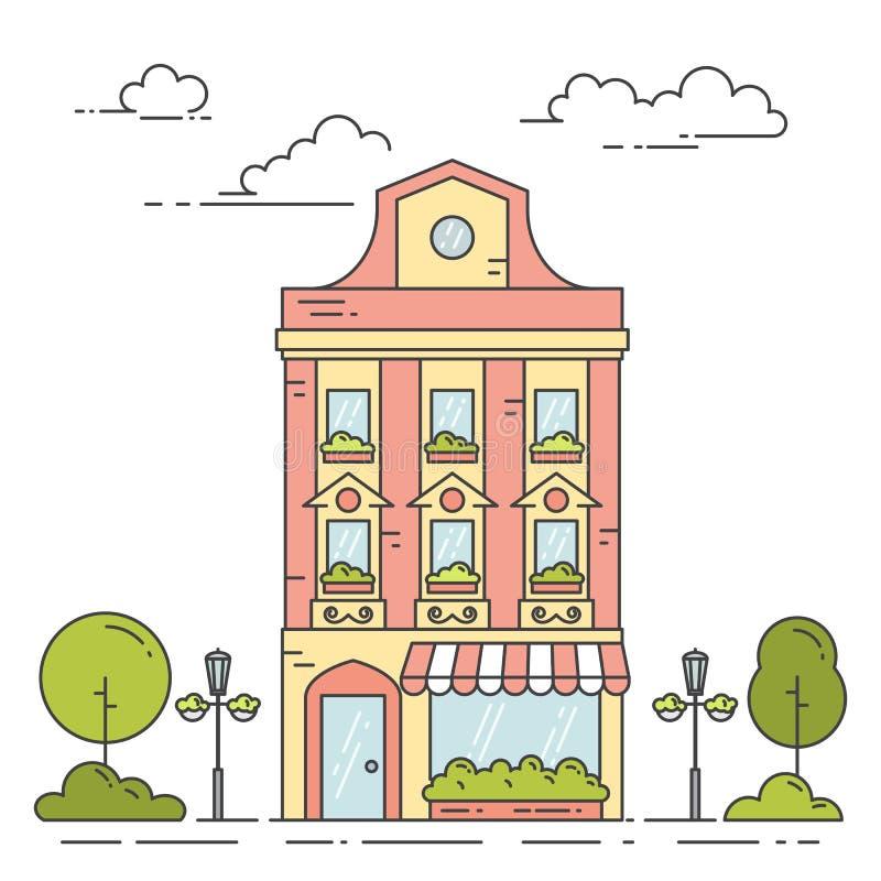 Stadslandschap met retro huis, bomen en wolken in lijnkunst op witte achtergrond wordt geïsoleerd die vector illustratie