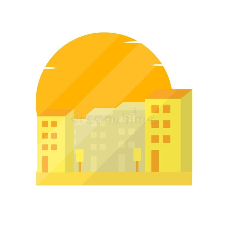 Stadslandschap in schemerillustratie stock illustratie