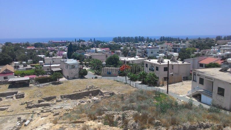 Stadslandschap van het Eiland Cyprus stock afbeelding
