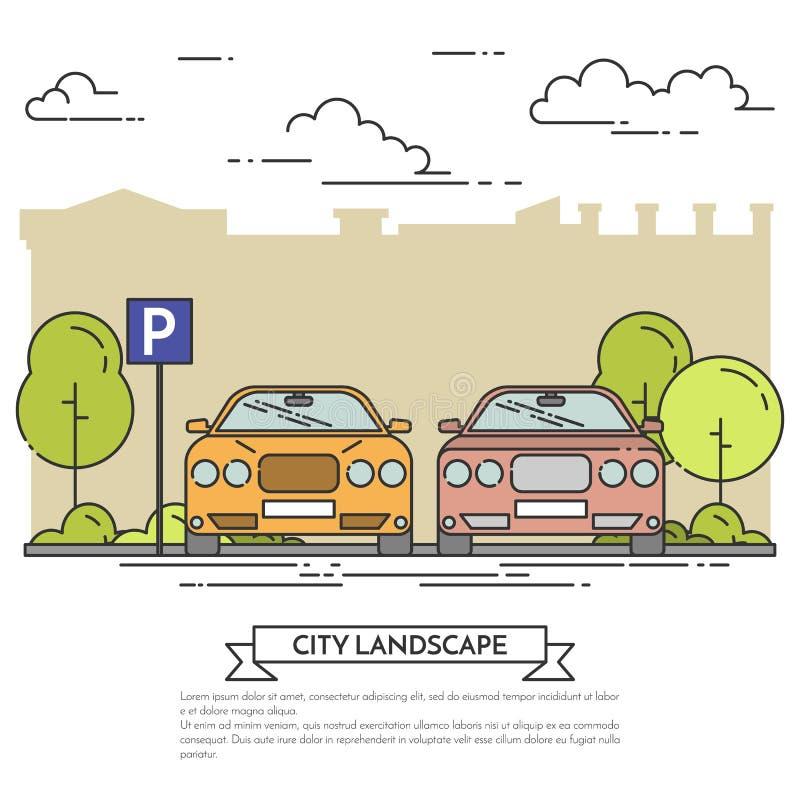 Stadslandskap med moderna bilar på parkeringslägenhetlinjen konst royaltyfri illustrationer
