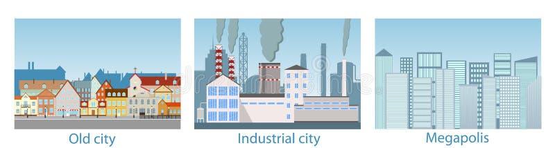 Stadslandskap, metropolis, gammal stad, industriområde royaltyfri illustrationer