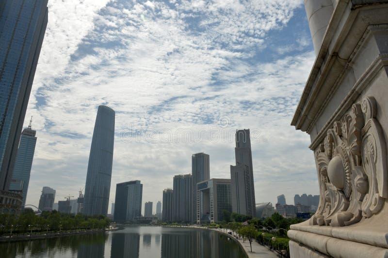 Stadslandskap tianjin fotografering för bildbyråer