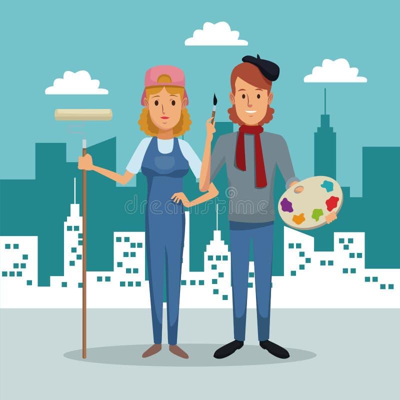 Stadslandskapbakgrund med den fulla målaren för kroppparkvinna och mankonstnären stock illustrationer