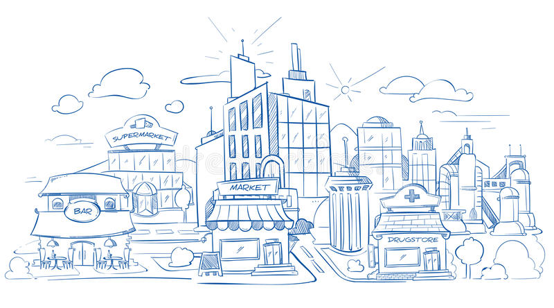 Stadslandskapet med den moderna byggnadsblyertspennan skissar, räcker utdraget, klottervektorillustration vektor illustrationer