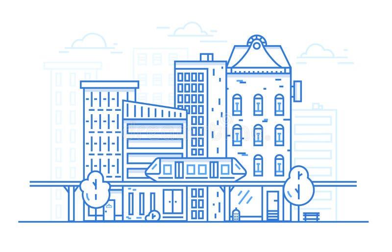 Stadslandskaplinje konstdesignbegrepp för websitebakgrund Stads- cityscape med stadarkitektur linjär stil royaltyfri illustrationer
