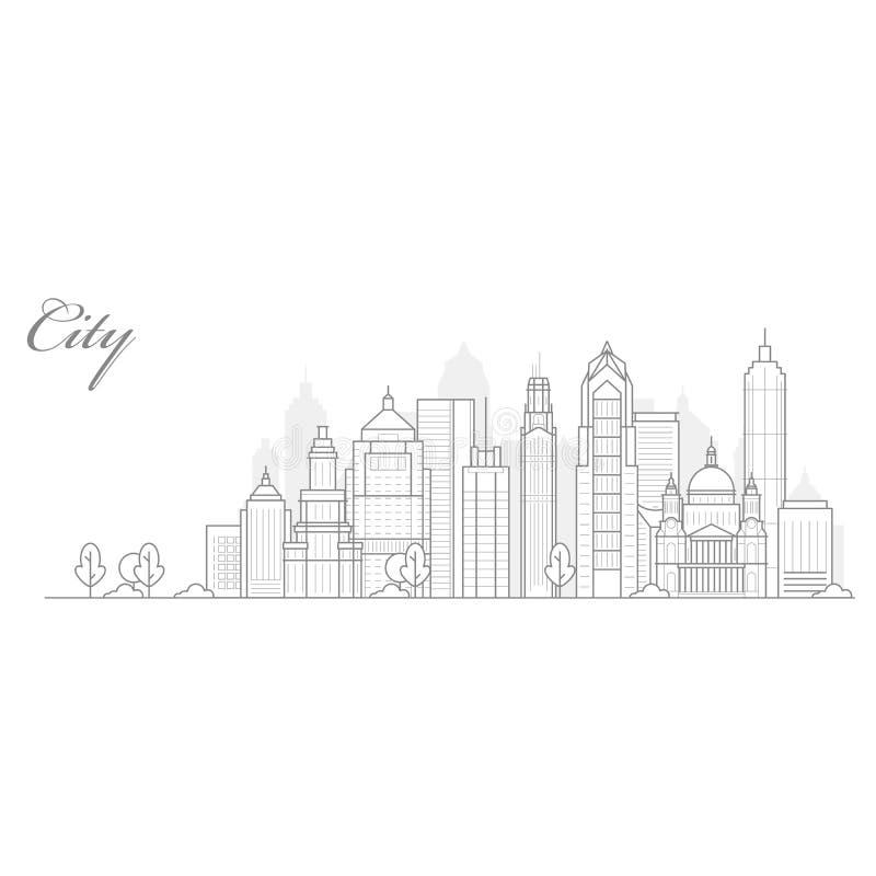 Stadslandskapmall, tunn linje cityscape, sikt av centret med skyskrapor - stads- megalopolis vektor illustrationer