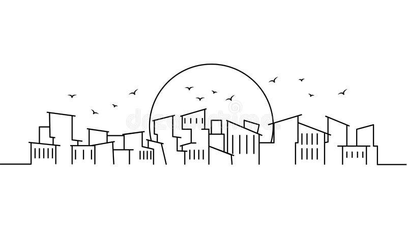 Stadslandskapmall Tunn linje stadslandskap Cityscape armod isolerad översiktsillustration Vektorillustratio för stads- liv royaltyfri illustrationer