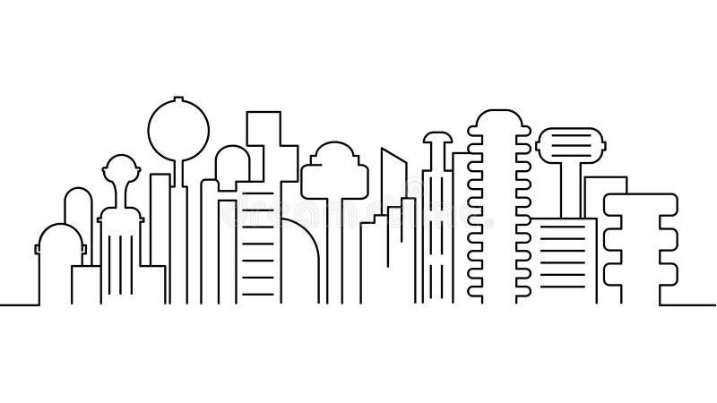 Stadslandskapmall Tunn linje stadslandskap Cityscape futuristisk stad isolerad översiktsillustration Vektor il för stads- liv royaltyfri illustrationer
