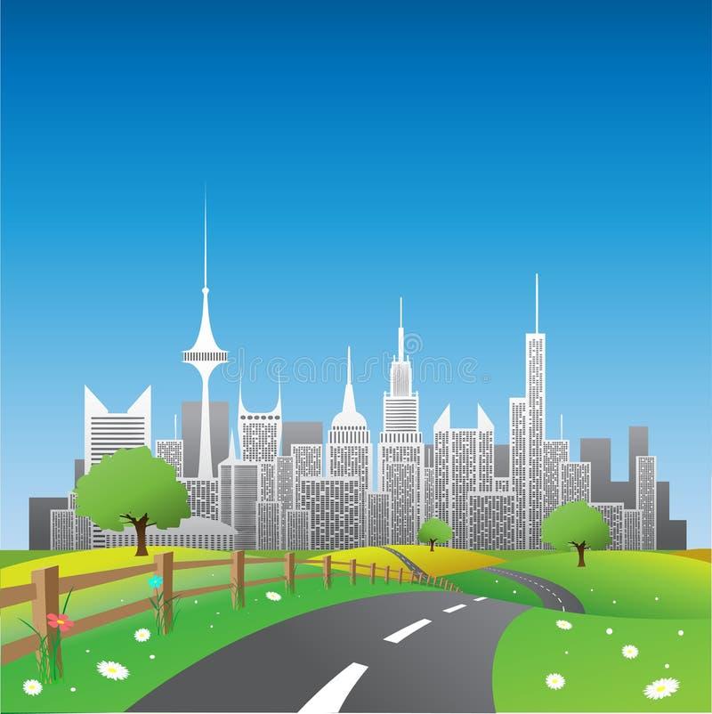 stadsliggande stock illustrationer