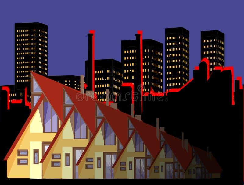 stadsliv stock illustrationer