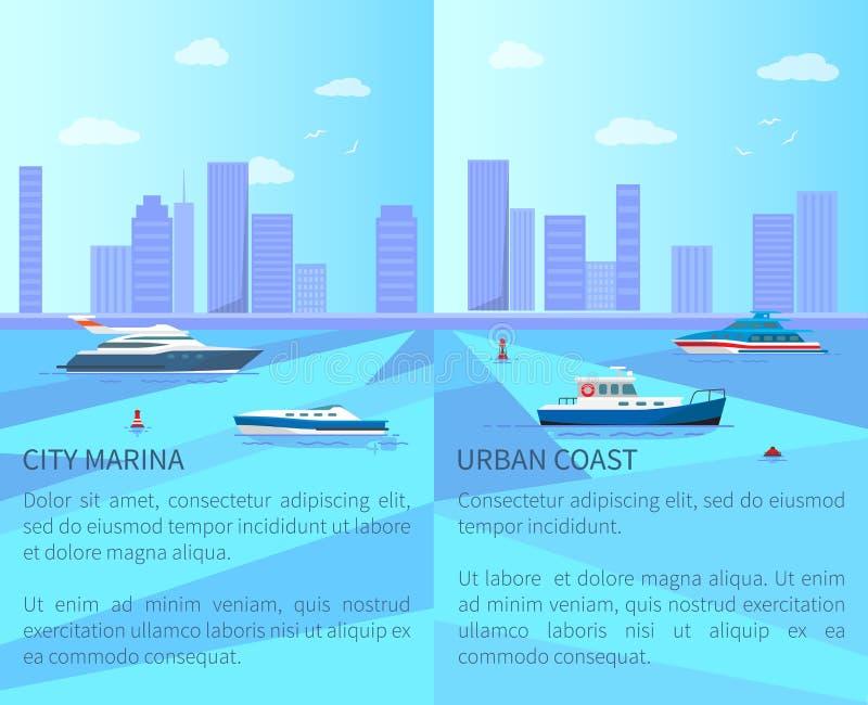 Stadsmarina och stads- kustvektorillustration stock illustrationer