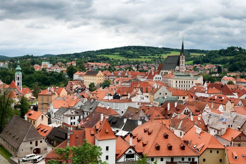 Stadsmening van Cesky Krumlov, Tsjechische Republiek stock foto's