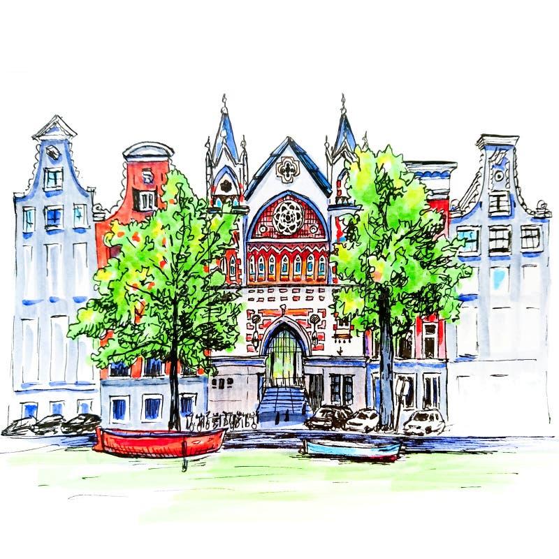 Stadsmening van het kanaal, de huizen en de kerk van Amsterdam vector illustratie