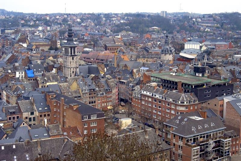 Stadsmening van historisch centrum Namen, België stock foto
