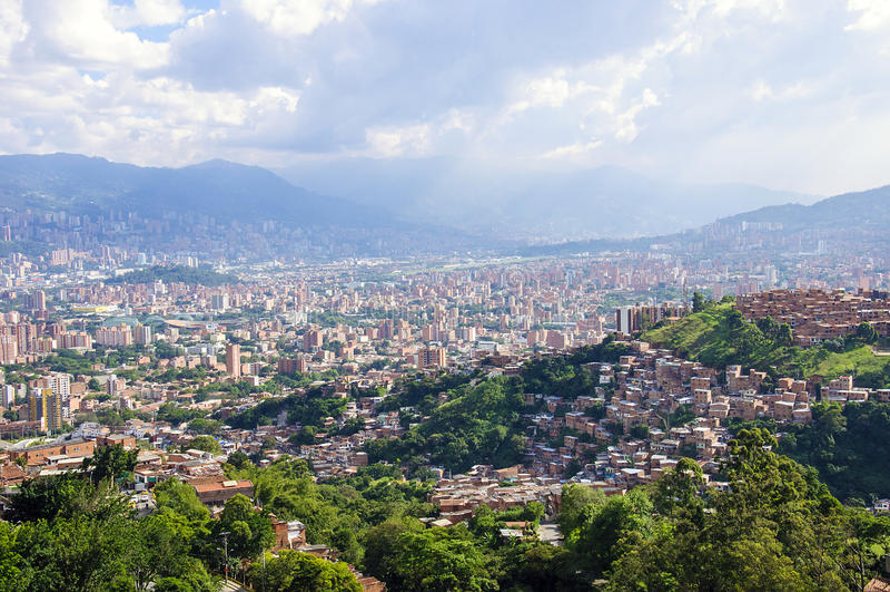 Stadsmening van Medellin, Colombia stock foto's