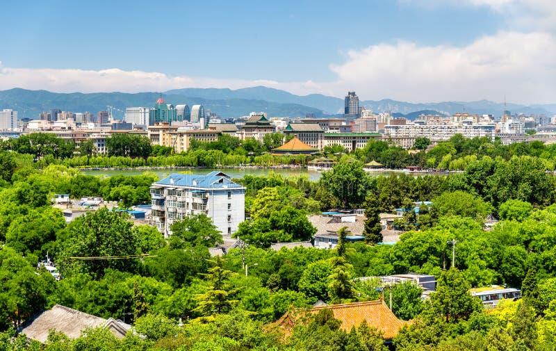 Stadsmening van Peking van Jingshan-park royalty-vrije stock fotografie