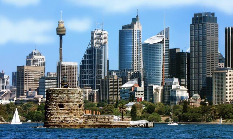 Stadsmening van Sydney in Australië stock afbeeldingen