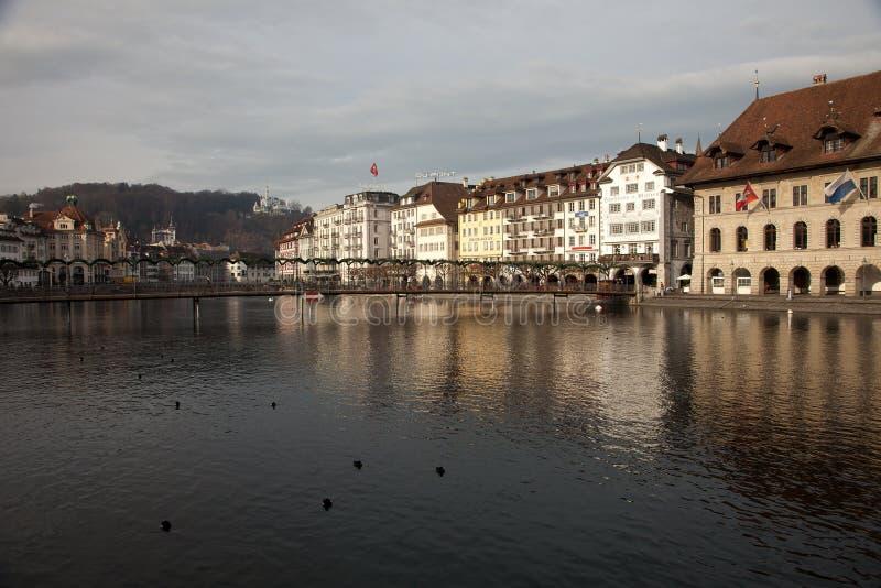 Stadsmeningen van Luzern van de binnenstad Luzerne, Zwitserland stock afbeeldingen